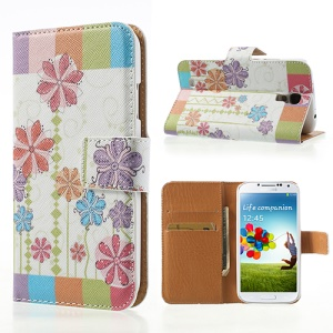Fresh Flowers Cross Texture Leather Wallet Cover Stand for Samsung Galaxy S4 i9505