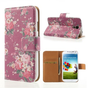 Beautiful Blossom Cross Texture Leather Wallet Cover Stand for Samsung Galaxy S4 i9505 i9500 i9502