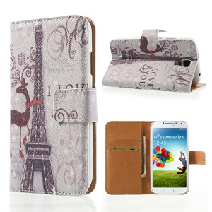For Samsung Galaxy S4 i9505 i9500 Card Wallet Leather Case Stand Eiffel Tower Pattern
