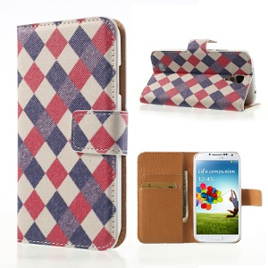 For Samsung Galaxy S4 i9505 i9502 Stylish Checker Pattern Cross Leather Wallet Case Stand