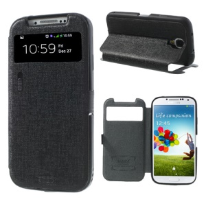 Black for Samsung Galaxy S4 i9500 LLMM Smart View Window Leather Case Stand w/ Switch