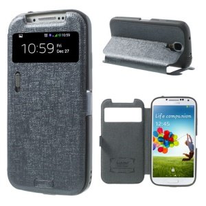 Grey for Samsung Galaxy S4 i9500 LLMM Smart View Window Leather Case Stand w/ Switch