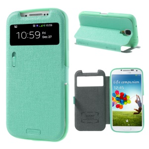 Cyan for Samsung Galaxy S4 i9500 LLMM Smart View Window Leather Cover Stand w/ Switch