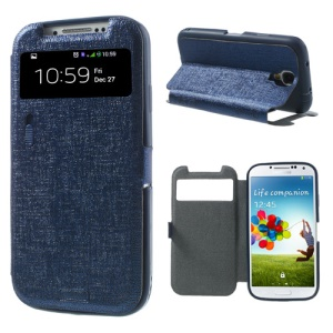 Dark Blue for Samsung Galaxy S4 i9505 LLMM Smart View Window Leather Cover Stand w/ Switch
