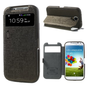 Brown for Samsung Galaxy S4 i9502 LLMM Smart View Window Leather Cover Stand w/ Switch