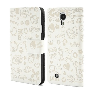 Cute Cartoon Lopez Flip Leather Cover for Samsung Galaxy S 4 IV i9500 i9505 - White