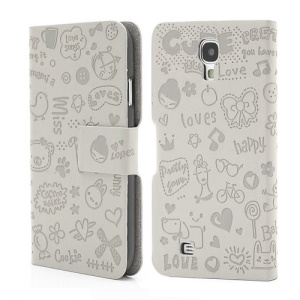 Cute Cartoon Lopez Flip Leather Case Cover for Samsung Galaxy S4 IV i9500 i9505 - Grey