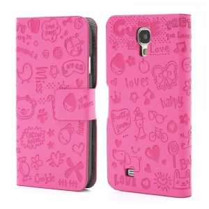 Cute Cartoon Lopez Flip Leather Case for Samsung Galaxy S4 S IV i9500 i9505 - Rose