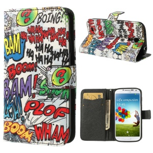 Graffiti HAHA BOOM Wallet Leather Phone Case for Samsung Galaxy S4 i9500 i9505