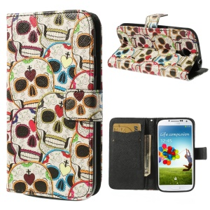 Colorful Skull Heads Wallet Leather Stand Case for Samsung Galaxy S4 i9500 i9502