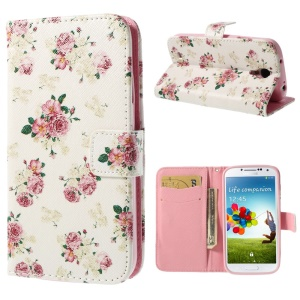Pretty Rose White Background Wallet Leather Cover Stand for Samsung Galaxy S4 i9500 i9502