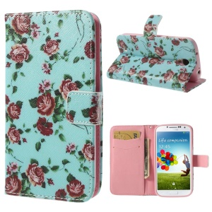 Pretty Rose Blue Background Durable Leather Wallet Case for Samsung Galaxy S4 i9500 i9505