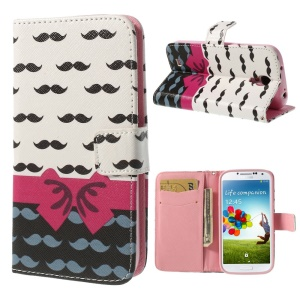 Bowknot & Mustaches Wallet Leather Stand Case for Samsung Galaxy S4 i9505 i9502 i9500