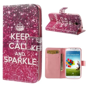 Crown & Sparkling Quote Wallet Leather Case Stand for Samsung Galaxy S4 i9500 i9502 i9505