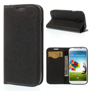 Cross Grain Leather TPU Inner Wallet Stand Case for Samsung Galaxy S4 I9500 - Black