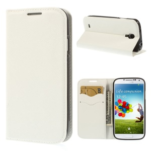 Cross Grain Leather TPU Inner Wallet Stand Case for Samsung Galaxy S4 I9500 - White
