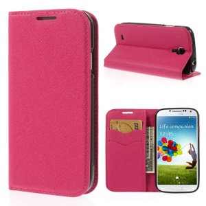 Cross Grain Leather TPU Inner Wallet Stand Case for Samsung Galaxy S4 I9500 - Rose