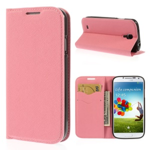 Cross Grain Leather TPU Inner Wallet Stand Cover for Samsung Galaxy S4 I9500 - Pink