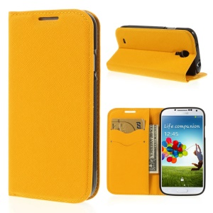 Cross Grain Leather TPU Inner Wallet Stand Cover for Samsung Galaxy S4 I9500 - Yellow