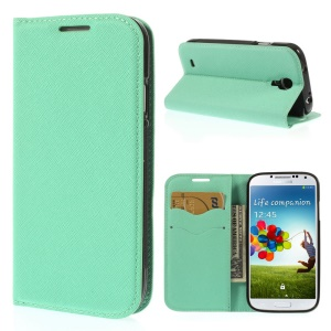 Cross Grain Leather TPU Inner Wallet Stand Cover for Samsung Galaxy S4 I9500 - Cyan