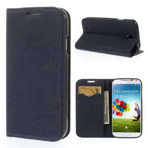 Cross Grain Leather TPU Inner Wallet Stand Shell for Samsung Galaxy S4 I9500 - Deep Blue