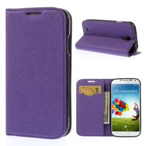 Cross Grain Leather TPU Inner Wallet Stand Shell for Samsung Galaxy S4 I9500 - Purple