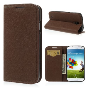 Cross Grain Leather TPU Inner Wallet Stand Shell for Samsung Galaxy S4 I9500 - Brown