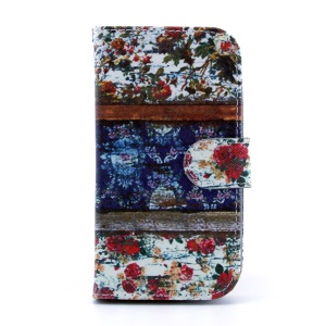 Magnetic Flip Leather Wallet Case for Samsung Galaxy S4 I9500 - Flowers Painting