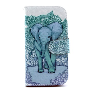 Magnetic Flip Leather Stand Case for Samsung Galaxy S4 I9500 - Elephant Art Print