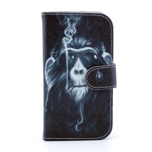 Leather Wallet Stand Cover for Samsung Galaxy S4 I9500 - Funny Monkey Smoking
