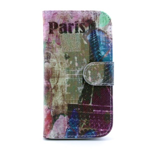 Leather Flip Card Holder Cover for Samsung Galaxy S4 I9502 - Paris Eiffel Tower