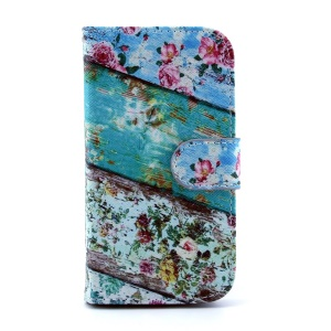 For Samsung Galaxy S4 I9502 Magnetic Flip Leather Card Slot Cover - Roses Flower