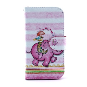 For Samsung Galaxy S4 I9505 Flip Leather Stand Cover - Cartoon Elephant & Bird