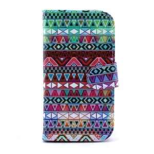 For Samsung Galaxy S4 I9505 PU Leather Case w/ Card Slots - Aztec Tribal Pattern