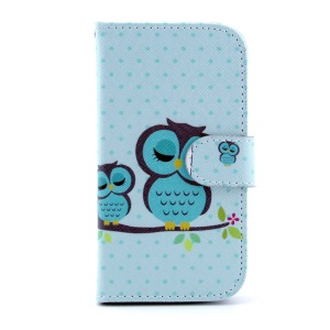 For Samsung Galaxy S4 I9505 Leather Cover w/ Card Slots - Green Sleeping Owl