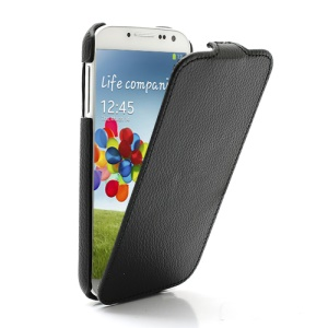 Litchi Texture Slim Vertical Leather Case Cover for Samsung Galaxy S4 S IV i9500 i9505 - Black