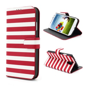 Two-tone Horizontal Stripe Leather Stand Case for Samsung Galaxy S4 S IV i9500 i9505 - White / Red