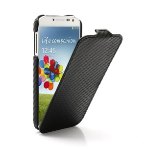 Vertical Carbon Fiber Leather Case for Samsung Galaxy S4 S IV i9500 i9505 - Black