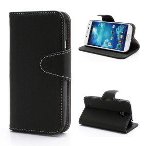 Diagonal Lines Fabric Leather Flip Wallet Stand Case for Samsung Galaxy S4 S IV i9500 i9505 - Black