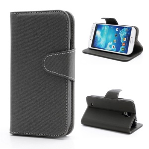 Diagonal Lines Fabric Leather Flip Wallet Stand Case for Samsung Galaxy S4 S IV i9500 i9505 - Grey