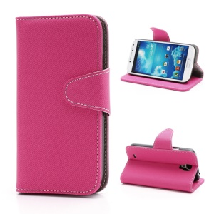 Diagonal Lines Fabric Leather Flip Wallet Stand Case for Samsung Galaxy S4 S IV i9500 i9505 - Rose