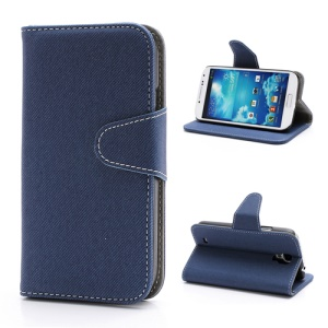 Diagonal Lines Fabric Leather Flip Wallet Stand Case for Samsung Galaxy S4 S IV i9500 i9505 - Dark Blue