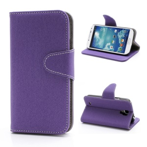 Diagonal Lines Fabric Leather Flip Wallet Stand Case for Samsung Galaxy S4 S IV i9500 i9505 - Purple