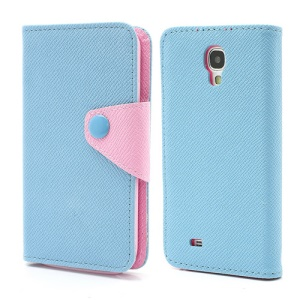 Two-color Leather Magnetic Case Cover Accessories for Samsung Galaxy S4 S IV i9500 i9505 - Blue / Pink
