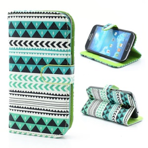 Geometric Tribe Style Leather Wallet Stand Case for Samsung Galaxy S4 i9500 i9505 - A