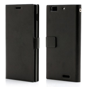 Doormoon Genuine Leather Wallet Case Cover for Lenovo Lephone K900 - Black