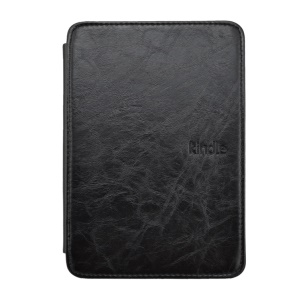 Black Crazy Horse Texture Flip Leather Case w/ Light for Amazon Kindle 4 4th Generation