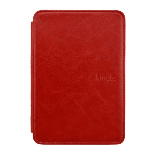 Red Crazy Horse Texture Flip Leather Cover w/ Light for Amazon Kindle 4 4th Generation