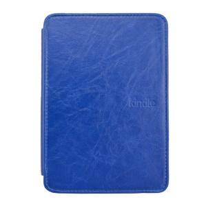 Blue Crazy Horse Texture Flip Leather Shell w/ Light for Amazon Kindle 4 4th Generation