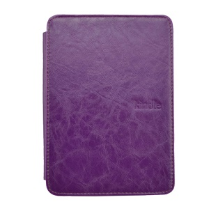 Purple Crazy Horse Texture Flip Leather Shell Cover w/ Light for Amazon Kindle 4 4th Generation